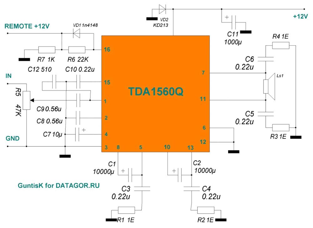 на микросхеме TDA1560Q