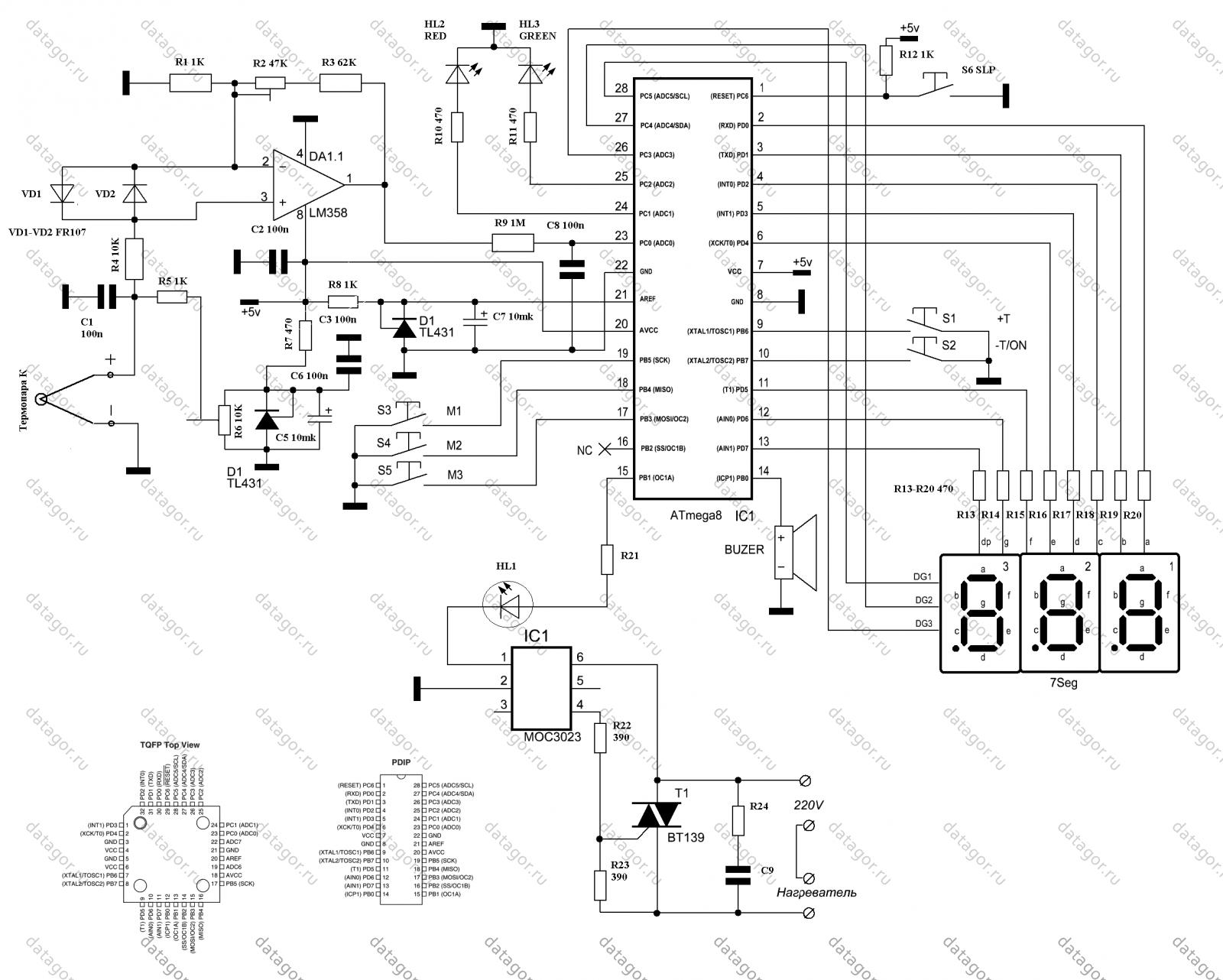 Схема паяльного фена на pic