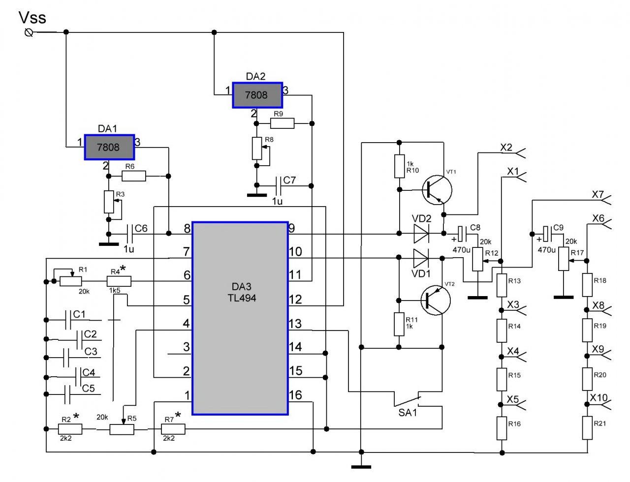 Простейшая схема регулируемый генератор из 494