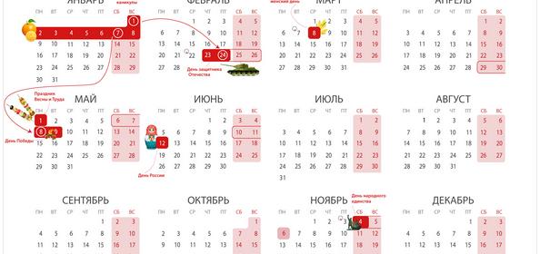 Календарик выходных и официальных праздников России на 2017 год